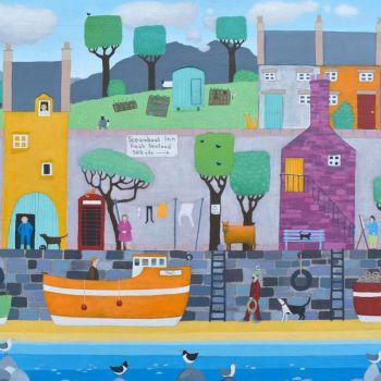 """No Ball Games"" Colouful Coastal Art Card"