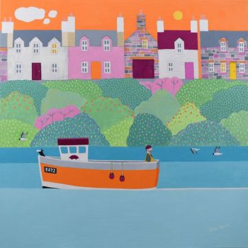 """High Hopes"" Colourful coastal art card"