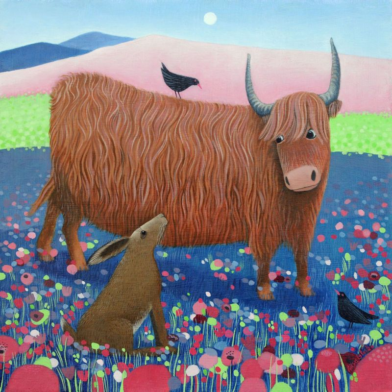 Highland Cow Greetings Colourful Art Card