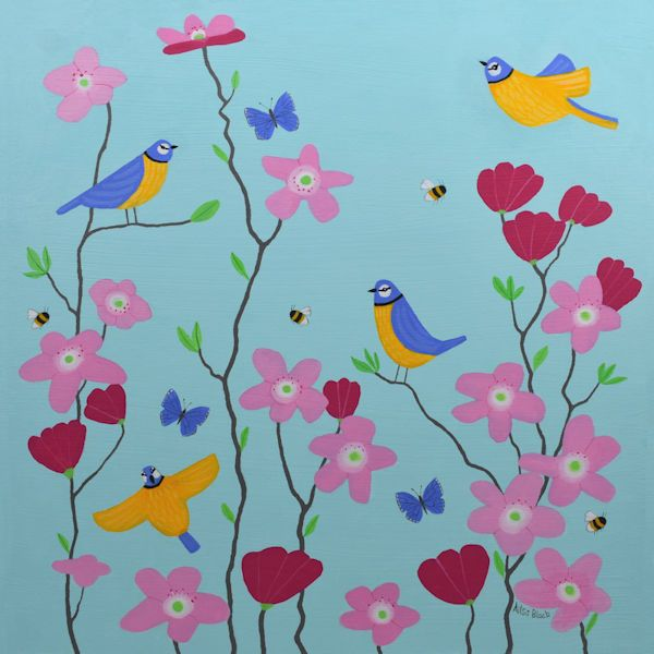 A painting of Blur tits flying between magnolia flowers.