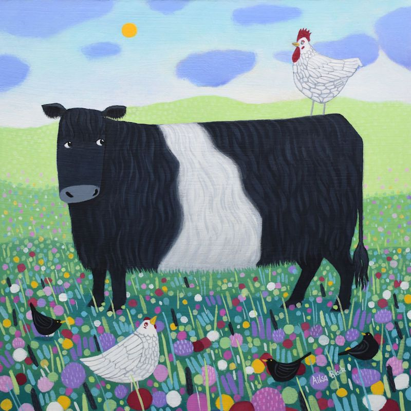 Belted Galloway painting for sale
