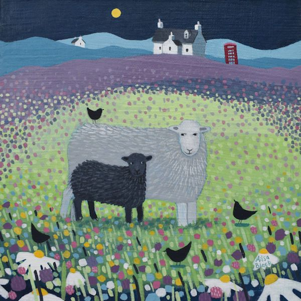 Sheep in the Meadow painting