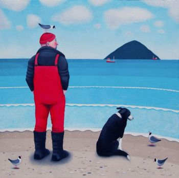 """High Expecatations"" Man and collie dog on the beach mini giclee print"