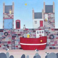 """Planning the Day Ahead"" coastal village mini art print"