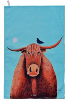 """Broon Coo"" Highland Cow Cotton Tea Towel"