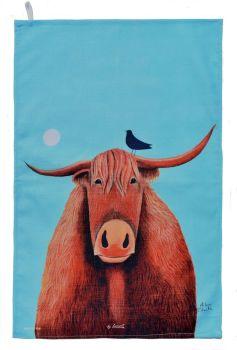 """Broon Coo"" Highland Cow Cotton Tea Towel"