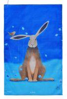"""Hare Bells"" Hare Cotton Tea Towel"