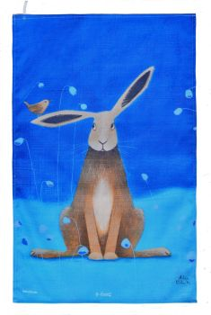 """Hare Bells"" Hare Cotton Tea Towel"
