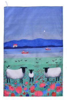 """""""Woolitt Wanderers"""" Sheep Cotton Tea Towel"""