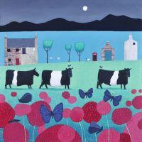 """Flutterbies and Belties""  Belted Galloway Cow Medium Art Print"
