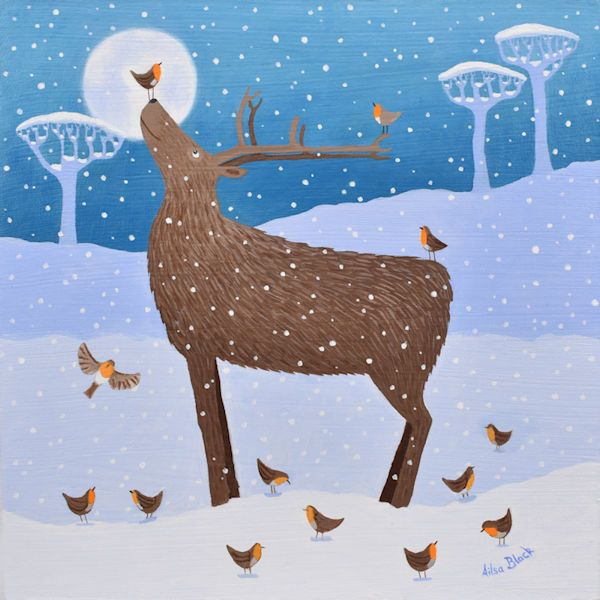 A Christmas painting of a red deer balancing a robin on it's nose in the snow.