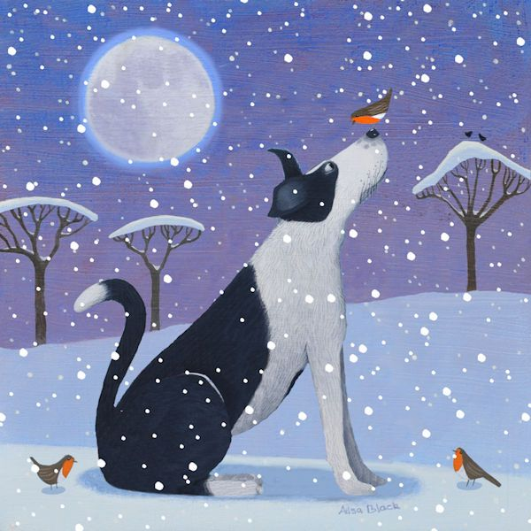 A painting and illustration of a border collie dog in the snow with a robin on it's nose.