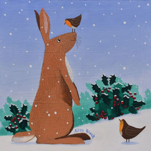 a rabbit and robins have a chat in this light hearted painting by Scottish Artist Ailsa Black