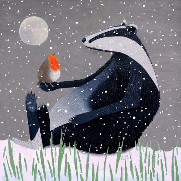 An illustration of a badger with a robin sitting in the snow.