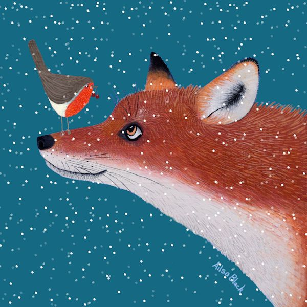 A fox watches a robin in this colouful snow scene painting.