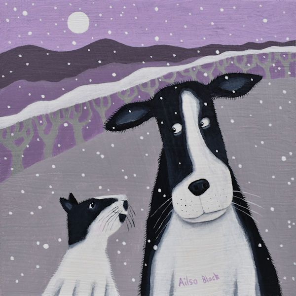 An illustration of a cat and dog whispering to each other in the snow.