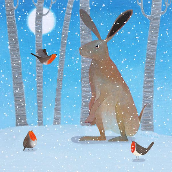 A painting and illustration of a hare and robins in the snow.