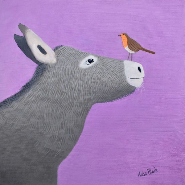 a colouful and fun painting of a donkey by scottish artist ailsa black