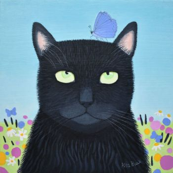 """""""Raven"""" Greetings card of a black cat"""