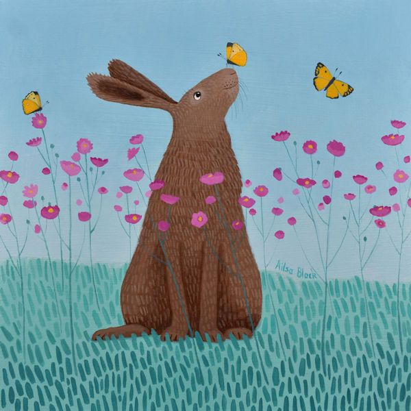 a hare sits among a cloud of butterflies by ailsa black