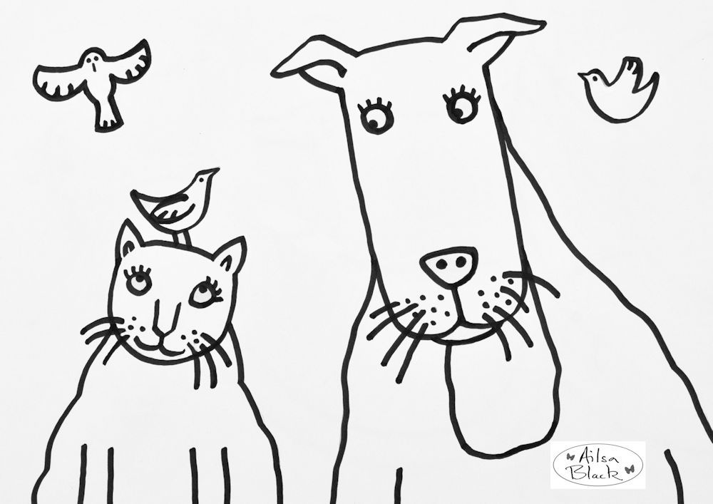 best friends free cat and dog colouring in download