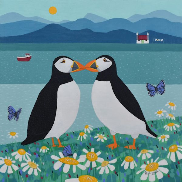 It Started with a Kiss - clifftop puffins painting