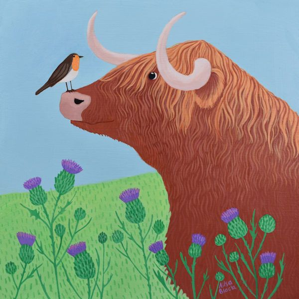 Hairy Coo - Highland Cow Painting