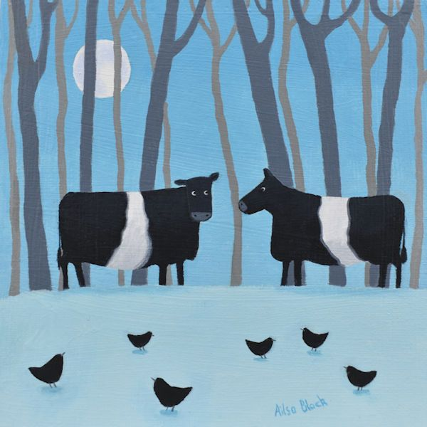 Moonlight movers - Belted Galloway cows in the snow