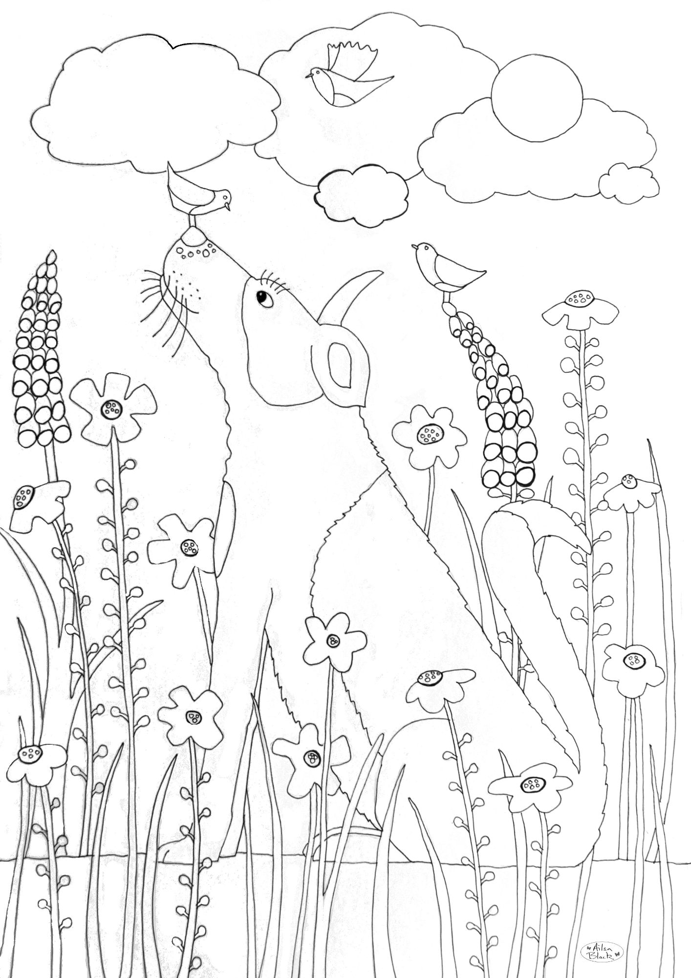 Free collie dog  for colouring in