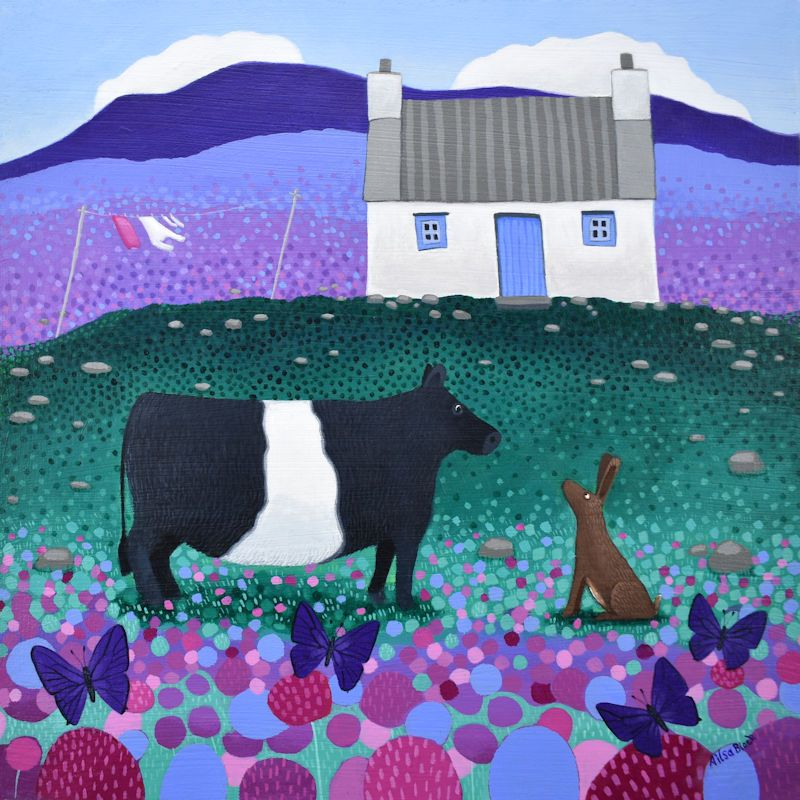a painting of a belted galloway cow by ailsa black