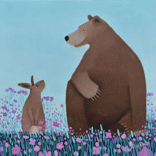 an illustration of a friendly bear and a rabbit by ailsa black