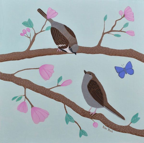 Two sparrows kissing on a branch a painting by Scottish Artist Ailsa Black