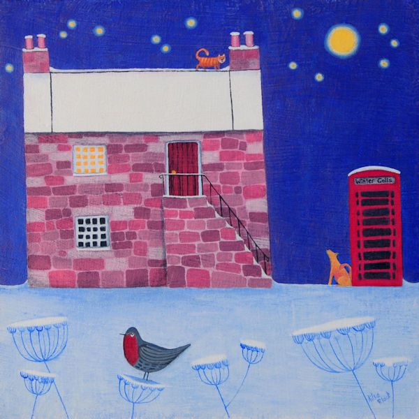 A painting of a house and red telephone box in the snow.