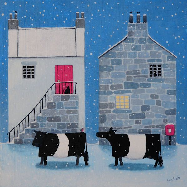 A painting of two belted galloway cattle in the snow.