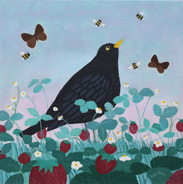 A painting of a blackbird in a strawberry patch like William morris's painting of The Strawberry Thief