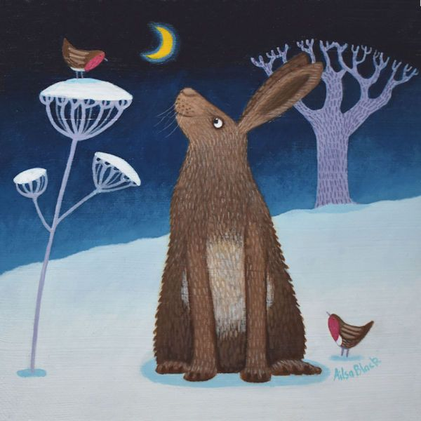 A winter Night Snowscene Painting with a Hare