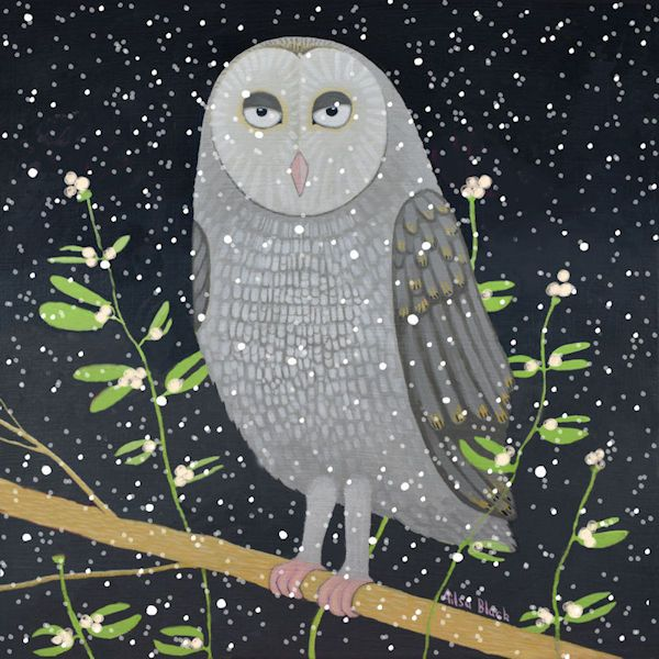 A snow scene painting of an owl