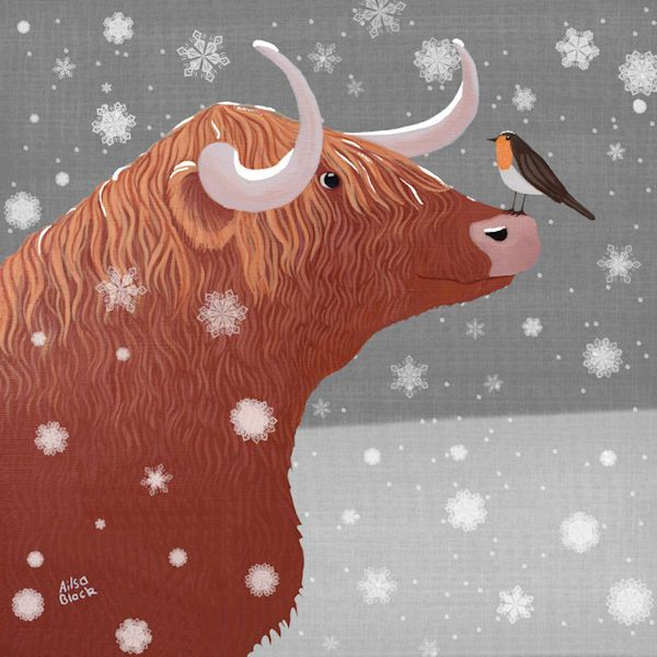 A Highland Cow in the Snow with a Robin on it's nose