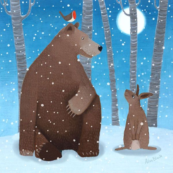 A bear and rabbit in the snow
