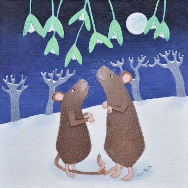 A pair of mice kiss underneath the mistletoe