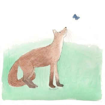 Friendly Fox - pencil and ink drawing