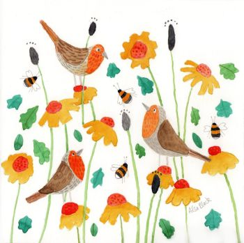 A Round of Robins Watercolour Painting