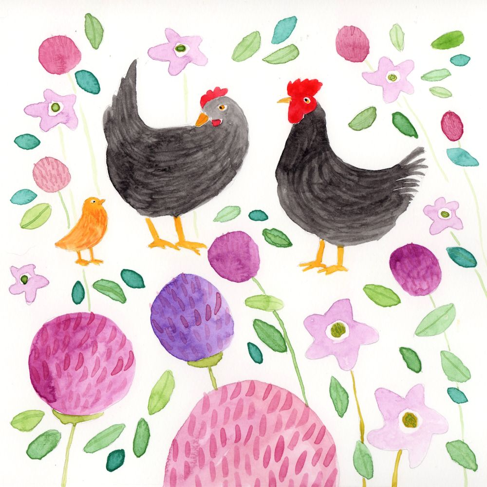 Watercolour Painting of Chickens