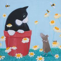 """""""Daisy Games"""" cat and mouse greetings card"""