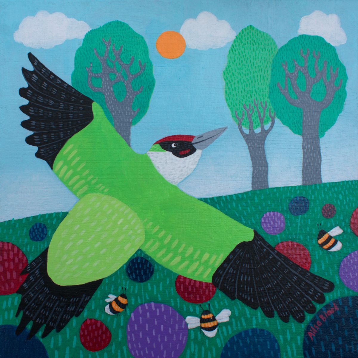 Woodpecker painting for sale