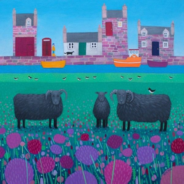 A painting of Hebridean Sheep graze in front of a coastal village.