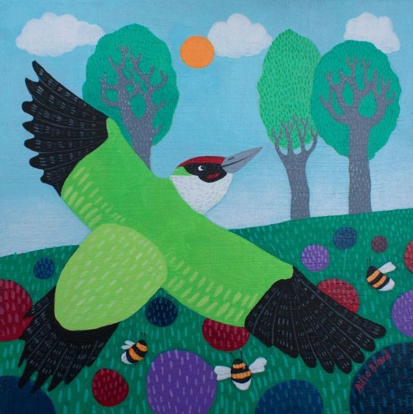A painting of a woodpecker in flight from Scottish Artist Ailsa Black