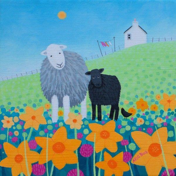 apainting of a Herdwick Sheep and her lamb among daffodills.