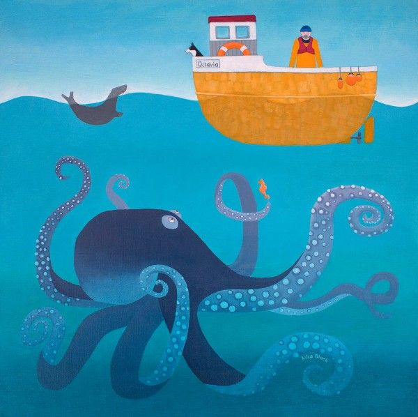 A painting of a giant octopus underneath a boat with the sailor and dog.