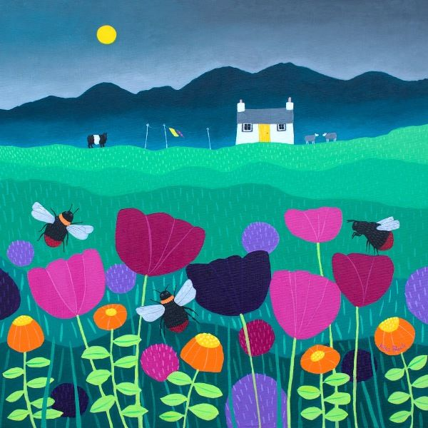 A colourful summer painting of bees and flowers with a small cottage in the distance and a belted galloway